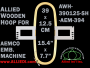 39.0 x 12.5 cm (15.4 x 4.9 inch) Rectangular Allied Wooden Embroidery Hoop, Single Height - Aemco 394