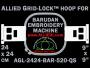 24 x 24 cm (9 x 9 inch) Square Allied Grid-Lock Plastic Embroidery Hoop - Barudan 520 QS