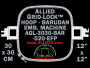30 x 30 cm (12 x 12 inch) Square Allied Grid-Lock Plastic Embroidery Hoop - Barudan 520 EFP - Allied May Substitute this with Premium Version Hoop