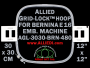 30 x 30 cm (12 x 12 inch) Square Allied Grid-Lock Plastic Embroidery Hoop - Bernina 480 - Allied May Substitute this with Premium Version Hoop