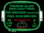 24 x 30 cm (9 x 12 inch) Rectangular Premium Allied Grid-Lock Plastic Embroidery Hoop - Brother 360