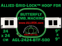 24 x 24 cm (9 x 9 inch) Square Allied Grid-Lock Plastic Embroidery Hoop - Butterfly 500