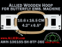 10.6 x 16.5 cm (4.2 x 6.5 inch) Rectangular Allied Wooden Embroidery Hoop, Single Height - Butterfly 360