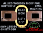 15.5 x 8.0 cm (6.1 x 3.1 inch) Rectangular Allied Wooden Embroidery Hoop, Single Height - Butterfly 360