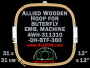 31.1 x 31.0 cm (12.2 x 12.2 inch) Rectangular Allied Wooden Embroidery Hoop, Double Height - Butterfly 360