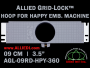 9 cm (3.5 inch) Round Allied Grid-Lock Plastic Embroidery Hoop - Happy 360