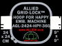 24 x 24 cm (9 x 9 inch) Square Allied Grid-Lock Plastic Embroidery Hoop - Happy 360