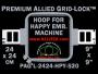 24 x 24 cm (9 x 9 inch) Square Premium Allied Grid-Lock Plastic Embroidery Hoop - Happy 520