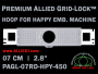 7 cm (2.8 inch) Round Premium Allied Grid-Lock Plastic Embroidery Hoop - Happy 450