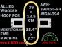 39.0 x 12.5 cm (15.4 x 4.9 inch) Rectangular Allied Wooden Embroidery Hoop, Single Height - Meistergram 394