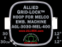 30 x 30 cm (12 x 12 inch) Square Allied Grid-Lock Plastic Embroidery Hoop - Melco 400 - Allied May Substitute this with Premium Version Hoop