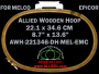 22.1 x 34.6 cm (8.7 x 13.6 inch) Oval Double Height Allied Wooden Embroidery Hoop, Double Height - Melco Epicor (EMC) Flat Table