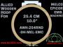 25.4 cm (10.0 inch) Round Double Height Allied Wooden Embroidery Hoop, Double Height - Melco Epicor (EMC) Flat Table