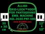 30 x 30 cm (12 x 12 inch) Square Allied Grid-Lock Plastic Embroidery Hoop - Pantograms 500 - Allied May Substitute this with Premium Version Hoop