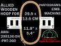 29.9 x 13.6 cm (11.8 x 5.3 inch) Rectangular Allied Wooden Embroidery Hoop, Double Height - Pantograms 360