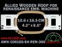 10.6 x 16.5 cm (4.2 x 6.5 inch) Rectangular Allied Wooden Embroidery Hoop, Single Height - Renaissance 360