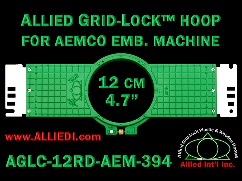 12 cm (4.7 inch) Round Allied Grid-Lock (New Design) Plastic Embroidery Hoop - Aemco 394