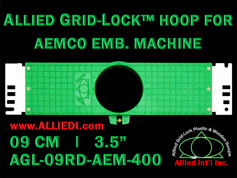 9 cm (3.5 inch) Round Allied Grid-Lock Plastic Embroidery Hoop - Aemco 400