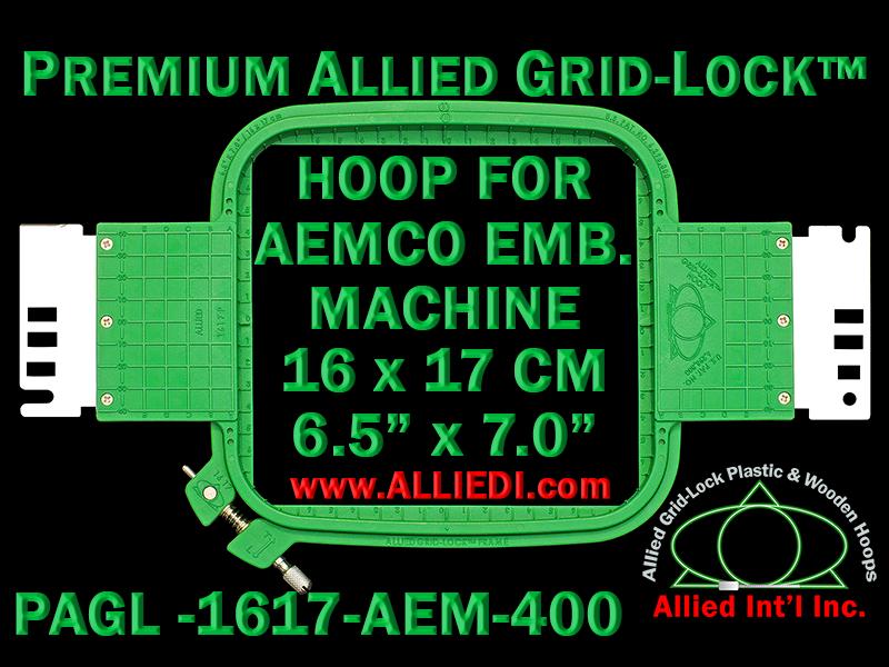 16 x 17 cm (6.5 x 7 inch) Rectangular Premium Allied Grid-Lock Plastic Embroidery Hoop - Aemco 400