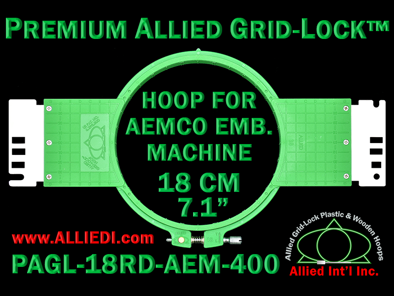 18 cm (7.1 inch) Round Premium Allied Grid-Lock Plastic Embroidery Hoop - Aemco 400
