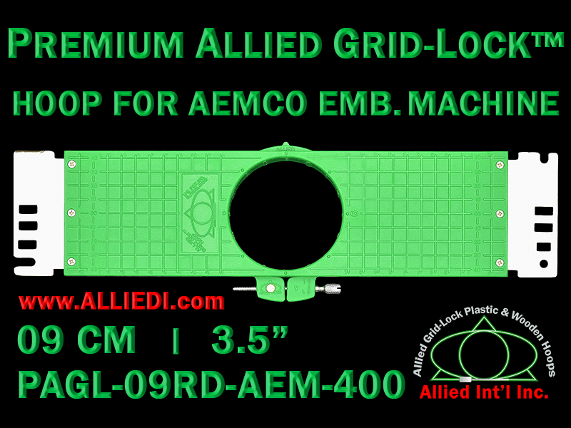9 cm (3.5 inch) Round Premium Allied Grid-Lock Plastic Embroidery Hoop - Aemco 400