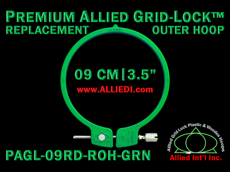 9 cm (3.5 inch) Round Premium Version Allied Grid-Lock Replacement Outer Embroidery Hoop / Ring / Frame - Green