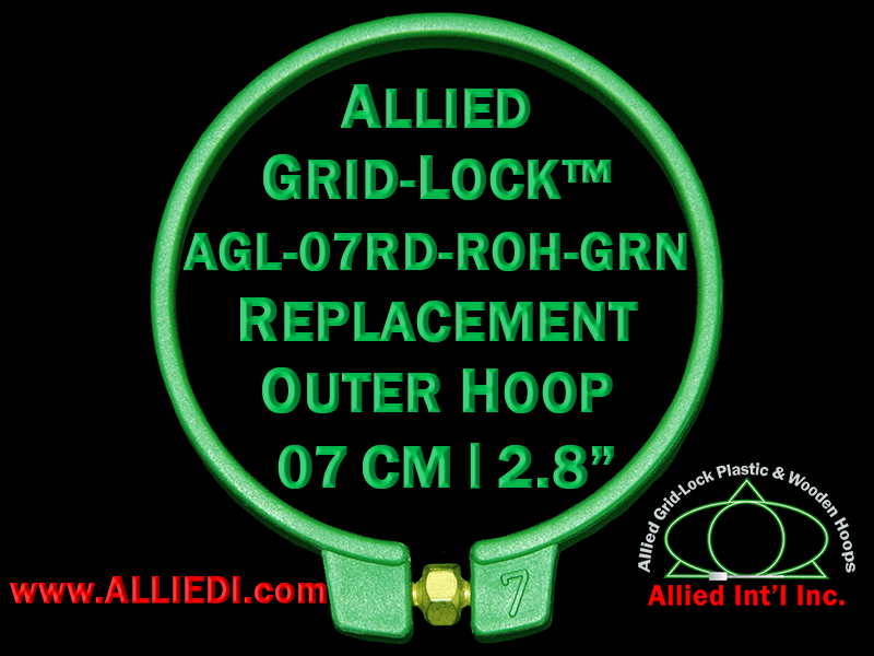 7 cm (2.8 inch) Round Standard Version Allied Grid-Lock Replacement Outer Embroidery Hoop / Ring / Frame - Green