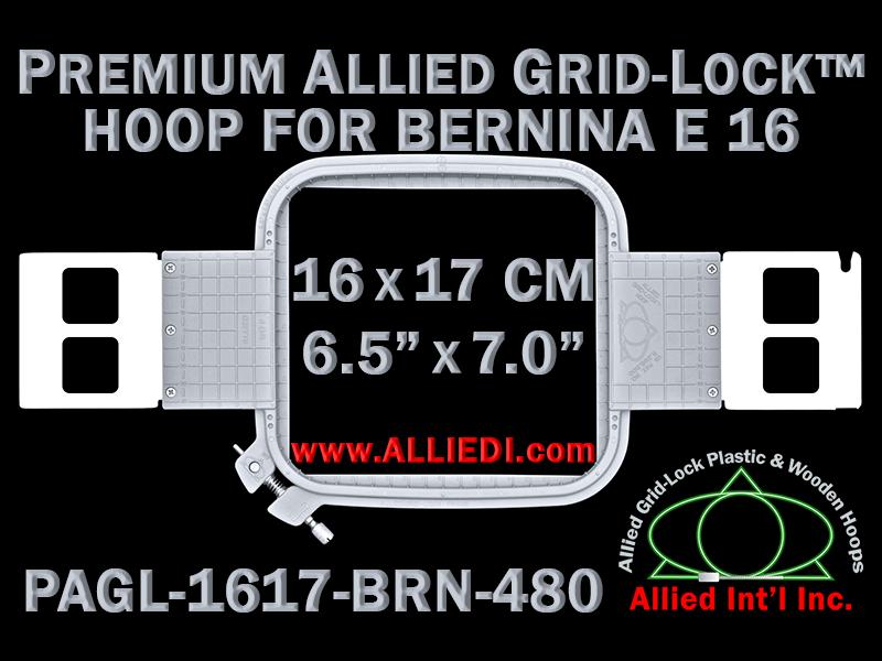 16 x 17 cm (6.5 x 7 inch) Rectangular Premium Allied Grid-Lock Plastic Embroidery Hoop - Bernina 480