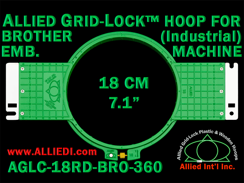 Brother 18 cm (7.1 inch) Round Allied Grid-Lock Embroidery Hoop (New Design) for 360 mm Sew Field / Arm Spacing