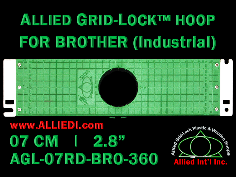 Brother 7 cm (2.8 inch) Round Allied Grid-Lock Embroidery Hoop for 360 mm Sew Field / Arm Spacing