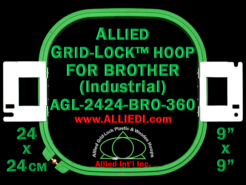 Brother 24 x 24 cm (9 x 9 inch) Square Allied Grid-Lock Embroidery Hoop for 360 mm Sew Field / Arm Spacing