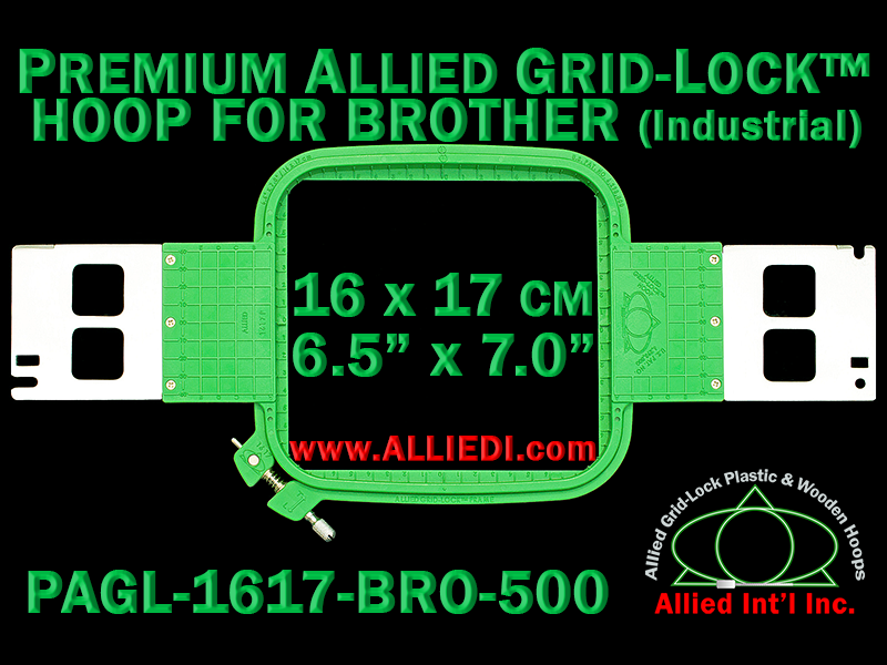 16 x 17 cm (6.5 x 7 inch) Rectangular Premium Allied Grid-Lock Plastic Embroidery Hoop - Brother 500