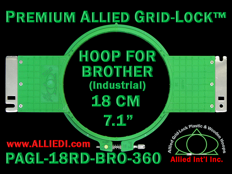 18 cm (7.1 inch) Round Premium Allied Grid-Lock Plastic Embroidery Hoop - Brother 360