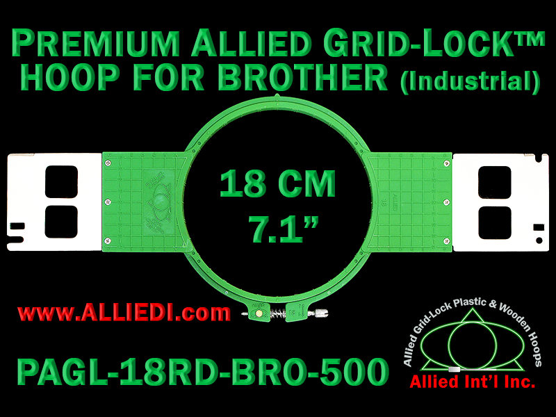 18 cm (7.1 inch) Round Premium Allied Grid-Lock Plastic Embroidery Hoop - Brother 500