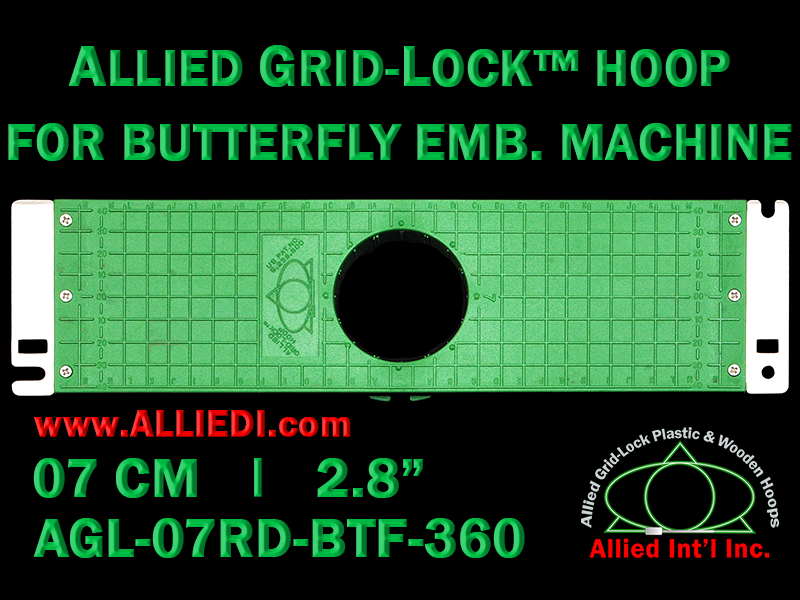 7 cm (2.8 inch) Round Allied Grid-Lock Plastic Embroidery Hoop - Butterfly 360