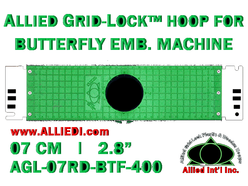 7 cm (2.8 inch) Round Allied Grid-Lock Plastic Embroidery Hoop - Butterfly 400