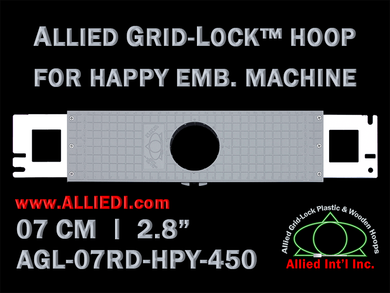 7 cm (2.8 inch) Round Allied Grid-Lock Plastic Embroidery Hoop - Happy 450