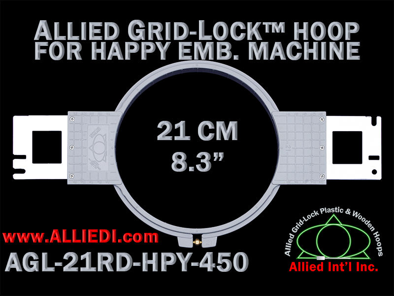 21 cm (8.3 inch) Round Allied Grid-Lock Plastic Embroidery Hoop - Happy 450