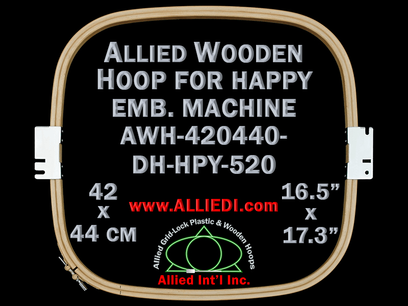 42.0 x 44.0 cm (16.5 x 17.3 inch) Rectangular Allied Wooden Embroidery Hoop, Double Height - Happy 520