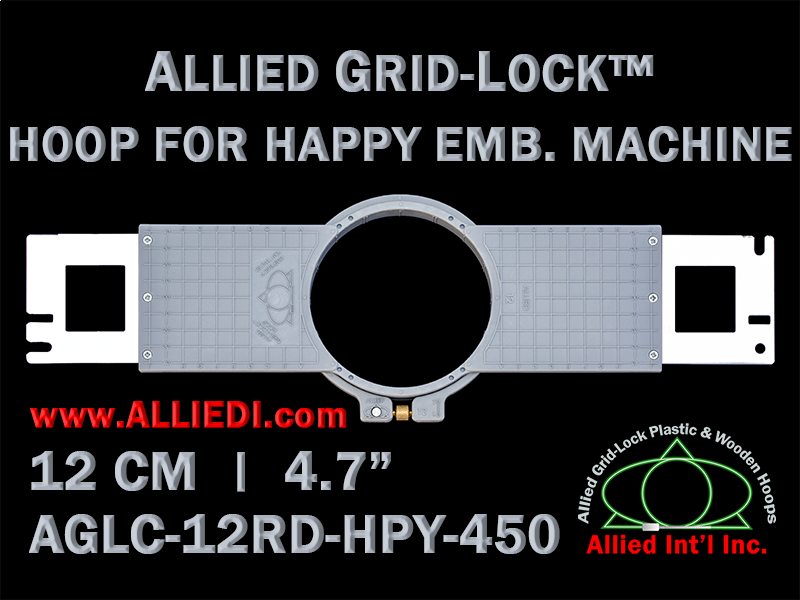 12 cm (4.7 inch) Round Allied Grid-Lock (New Design) Plastic Embroidery Hoop - Happy 450
