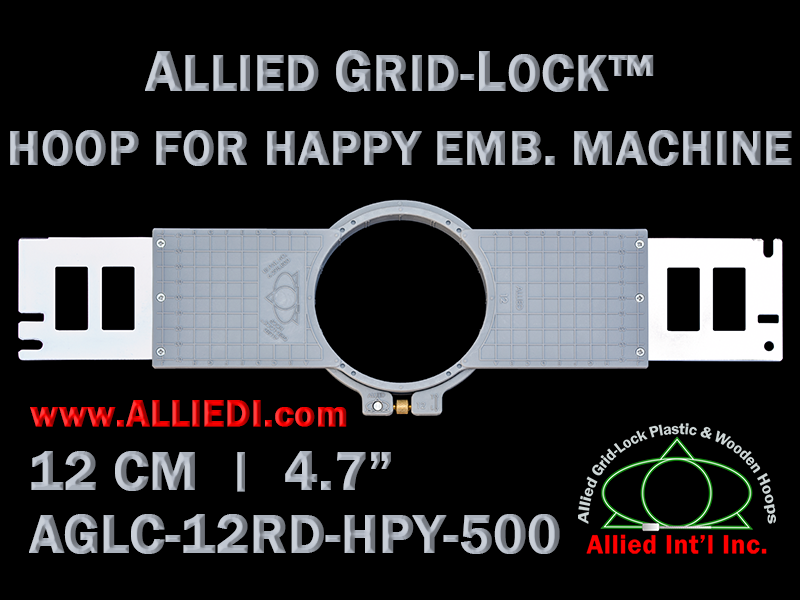 12 cm (4.7 inch) Round Allied Grid-Lock (New Design) Plastic Embroidery Hoop - Happy 500