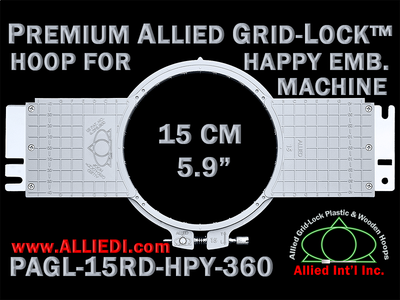 15 cm (5.9 inch) Round Premium Allied Grid-Lock Plastic Embroidery Hoop - Happy 360