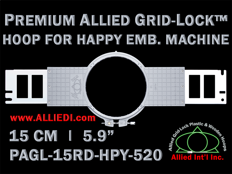 15 cm (5.9 inch) Round Premium Allied Grid-Lock Plastic Embroidery Hoop - Happy 520