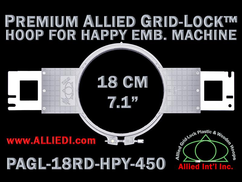 18 cm (7.1 inch) Round Premium Allied Grid-Lock Plastic Embroidery Hoop - Happy 450