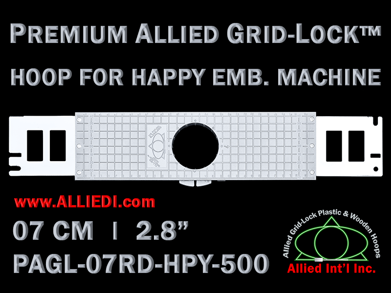 7 cm (2.8 inch) Round Premium Allied Grid-Lock Plastic Embroidery Hoop - Happy 500