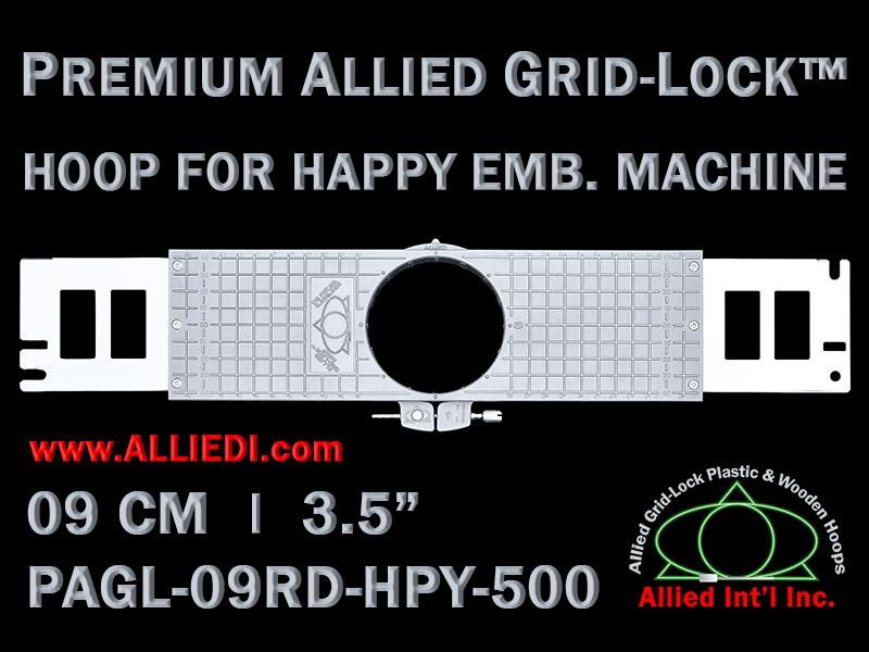 9 cm (3.5 inch) Round Premium Allied Grid-Lock Plastic Embroidery Hoop - Happy 500