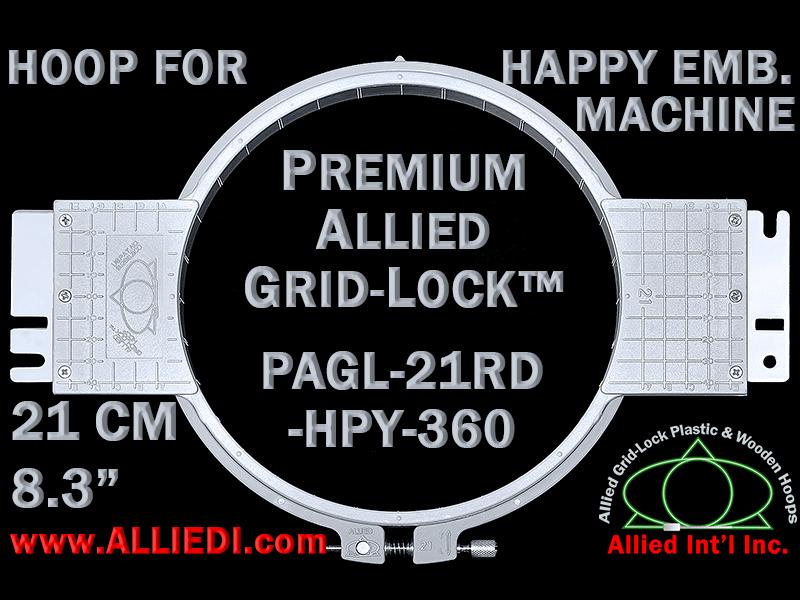 21 cm (8.3 inch) Round Premium Allied Grid-Lock Plastic Embroidery Hoop - Happy 360