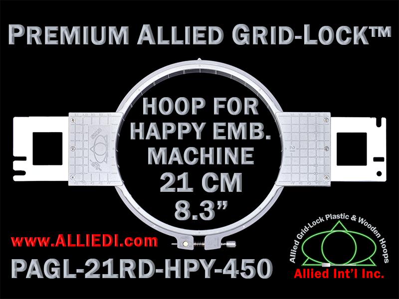 21 cm (8.3 inch) Round Premium Allied Grid-Lock Plastic Embroidery Hoop - Happy 450