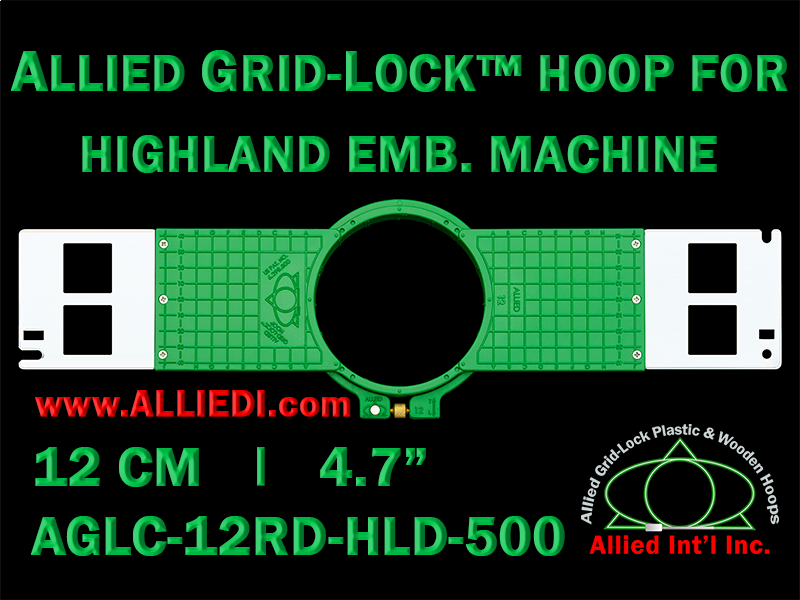 12 cm (4.7 inch) Round Allied Grid-Lock (New Design) Plastic Embroidery Hoop - Highland 500
