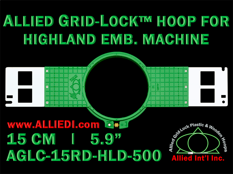 15 cm (5.9 inch) Round Allied Grid-Lock (New Design) Plastic Embroidery Hoop - Highland 500